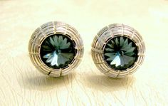 Vintage Cufflinks Blue Rivoli Rhinestone by ToadSuckTreasures