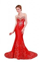 Passat Womens Long Sleeved Lace Wedding Dresses  Color Red