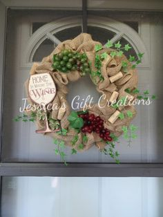 Wine Burlap Wreath/Home is Where the Wine by JessicasGCreations