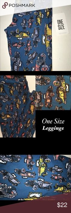 """Lularoe OS Leggings """"Antique Cars""""Tealish/Blue New Lularoe OS Leggings NWOT Item as pictured. Please know your size prior to buying. No refunds or exchanges. (Bag#KOZ01)  Best not to put in the dryer!! Should hang up to dry!!!  Lularoe OS Leggings """"Antique Cars"""" 🚙🚗 Tealish/Blue Background NEW LuLaRoe Pants Leggings"""