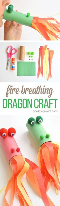 Roll Dragon Craft This fire breathing, toilet paper roll dragon is SO MUCH FUN! Blow into the end…This fire breathing, toilet paper roll dragon is SO MUCH FUN! Blow into the end… Craft Activities For Kids, Preschool Crafts, Projects For Kids, Diy For Kids, Craft Projects, Project Ideas, Crafts With Kids, Children Crafts, Paper Craft For Kids