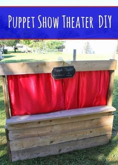 Wood Pallets DIY Wood Pallet Puppet Theater Tutorial - Use this tutorial to create a frugal puppet theater for kids with a wood pallet, fabric, paint, and a few tools. Wood Projects For Kids, Wood Projects For Beginners, Woodworking Projects For Kids, Kids Wood, Diy Pallet Projects, Woodworking Tools, Diy Wood Pallet, Wood Pallets, Pallet Kids