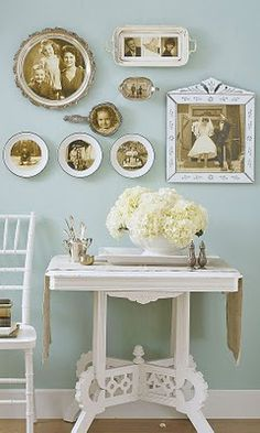 love the look of old photos in vintage dish ware :)