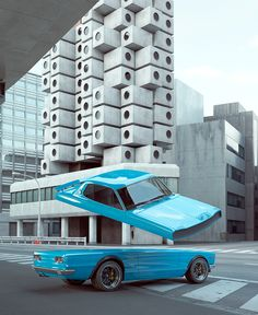 A continuation of my auto elastic explorations. This project draws for Japan's rich car culture and features the Honda NSX, Datsun Datsun Skyline GTR and the Toyota The Locale is inspired by Tokyo and Kisho Kurokawa's Nakagin capsule tower. Chris Labrooy, Nakagin Capsule Tower, Tokyo Skyline, Skyline Gtr, Nissan Skyline, Rich Cars, Aerobic, Saatchi Gallery, Yellow Car