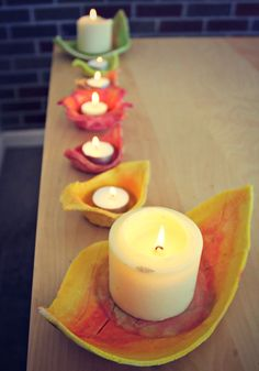 Wondering What We Did Today?: Salt Dough Fall Candle Holders