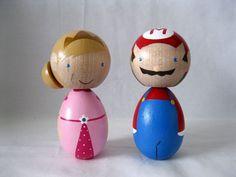 Large Super Mario Princess Peach Kokeshi Wood Peg Doll Collectable, Wedding Cake Topper