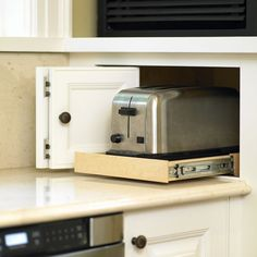 Appliance Garage corner roll out for toaster