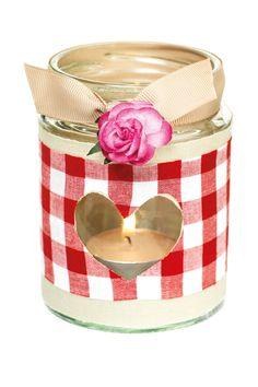 Gingham jam-jar candle holder