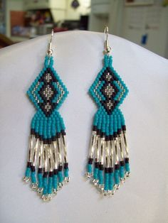 Tuquoise, Black and Silver Native American Beaded Arrow Earrings  Great Gift