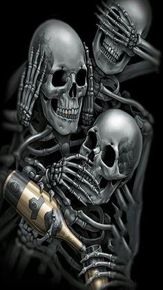 See no evil, hear no evol, speak no evil skull with tequila