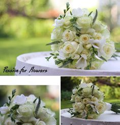 ivory and celadon wedding bouquets   Sophisticated Weddings Archives - Passion for Flowers ~ Blog