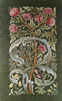 William Morris & Co 'Oak' silk panel embroidered by Helen, Lady Lucas Tooth, early 20th century