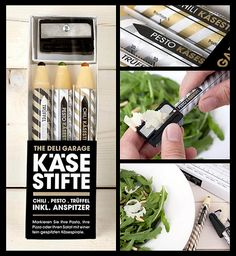 "PARMESAN CHEESE PENCILS: ""Shaped like oversized pencils, the ""leads"" contain three different flavors: truffles, pesto and chilli. With the sharpener included, the required amount of cheese can be sprinkled on the dish."""