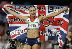 Day 8: Track & Field Evening Session - Track & Field Slideshows | Britain's Jessica Ennis celebrates after winning gold following the 800-meter heptathlon during the athletics in the Olympic Stadium at the 2012 Summer Olympics, London, Saturday, Aug. 4, 2012. (AP Photo/Anja Niedringhaus)  #NBCOlympics