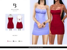 Sims 4 Cas, Sims Cc, Missy Dresses, Sims 4 Collections, The Sims 4 Packs, Strappy Crop Top, Satin Mini Dress, Strapless Dress, Female Clothing