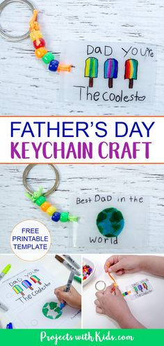 Kids will have fun making this super easy father's day keychain craft using shrinky dinks! Craft Projects For Kids, Crafts For Kids To Make, Gifts For Kids, Art Projects, Kids Fathers Day Crafts, Fathers Day Art, Diy Gifts, Handmade Gifts, Gift Crafts