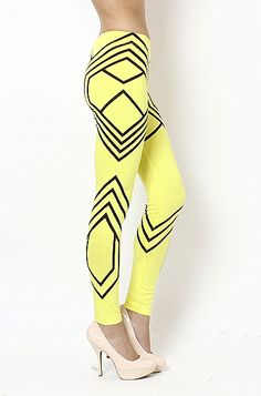 """Geometric Print Leggings- Neon Yellow/ Black"