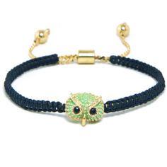 Amazon.com: Heirloom Finds Mint Green Owl Face Adjustable Friendship Bracelet Macrame Style: Jewelry