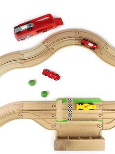 Houten racebaan 2 raceauto's-Houten speelgoed, poppen, schaalmodellen en knuffeldieren
