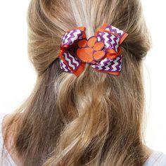 Clemson Tigers Womens Chevron Logo King Hair Bow