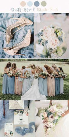 7 Stunning Wedding Color Palettes with Blush Pink stunning dusty blue and blush pink wedding colors Romantic Wedding Colors, Popular Wedding Colors, Pink Wedding Colors, Winter Wedding Colors, Romantic Weddings, Spring Wedding, Dream Wedding, Winter Weddings, Burgundy Wedding