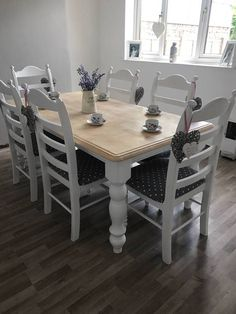 This is a very robust solid Both the Dining Table and the Chairs have been stripped, primed, undercoated, then professionally sprayed for a top-quality finish The table top, however, has been sanded back to show the Beautiful grain we can offer different coloured table tops Please