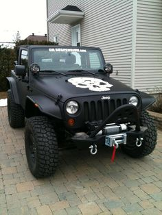 #Jeep Wranlger JK w/ Flat Flares  I like the flat black, too.  Could do without the skull...