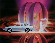Birth (poster for Mitsubishi Starion GSR-X),  by Shusei Nagaoka --