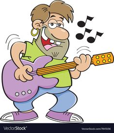 Cartoon man playing a guitar vector image on VectorStock Cartoon People, Cartoon Man, Cartoon Pics, Cartoon Characters, Fictional Characters, Fun Sketches, Clipart Gallery, Guitar Vector, Stick Figures