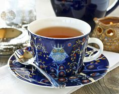 Taika (Magic) pattern from Finland; original design c. designs are supposed to inspire imagination and storytelling. Afternoon Delight, Afternoon Tea Parties, Chai, Tea Cup Set, China Tea Cups, Tea Art, Chocolate Pots, High Tea, Drinking Tea