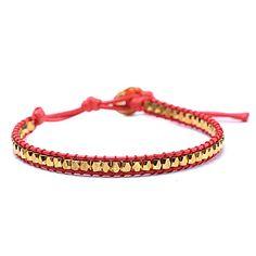 Cordón de cuero trenzado Pulsera de perlas de cobre