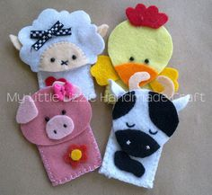 My Little Lizzie Handmade Craft - Catalogue: Finger Puppets - Zoo&Farm Felt Puppets, Puppets For Kids, Felt Finger Puppets, Hand Puppets, Handmade Christmas Decorations, Felt Decorations, Felt Diy, Felt Crafts, Stuffed Toys Patterns