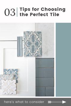 Picking the perfect tile for your kitchen or bathroom renovation is easy. Blue Tile Backsplash Kitchen, Decorative Tile Backsplash, Countertop Backsplash, Black Countertops, Cabinets And Countertops, Bath Tiles, Bathroom Renos, Kitchen Redo, Tile Patterns
