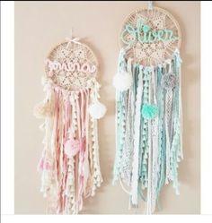 Hermoso atrapasueños con nombre, a crochet!