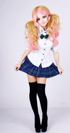 "Anastasiya Shpagina, ""The Living Anime Girl"" in Japanese School Girl Cosplay"