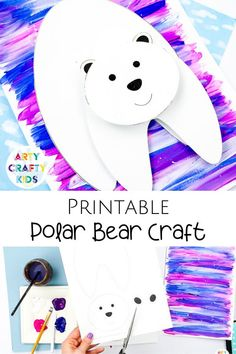 Looking for printable polar bear crafts for kids to make at home or preschool / kindergarten? This printable 3D paper polar bear crafts for kids is fun   simple for children to make with our printable polar bear craft for kids template. Get templates   videos for these winter polar bear crafts for kids   other easy winter crafts for kids here! Printable Winter Crafts for Kids Videos | Cute Winter Crafts for Kids Polar Bear | 3D Winter Crafts for Kids | Polar Bear Kids Crafts #PolarBearCrafts Green Crafts For Kids, Easy Arts And Crafts, Winter Crafts For Kids, Easy Crafts For Kids, Projects For Kids, Art For Kids, Polar Bear Paint, Bear Crafts, Thing 1