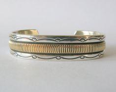 Vintage Bruce Morgan Silver & Gold Navajo Cuff Bracelet by Sfuso, $200.00