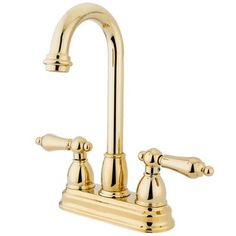 Elements of Design Double Handle Centerset Bar Faucet with Metal Lever Handles Finish: Polished Brass
