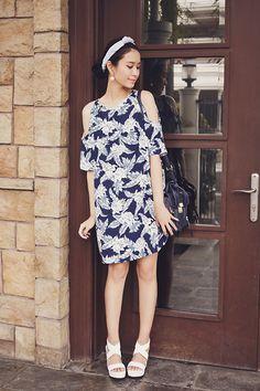 Motel Rocks Savannah Cold Shoulder Dress In Dahlia Navy, Emoda Heels, Emoda Earrings, 3.1 Phillip Lim Bag