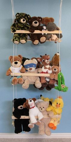 If you've been looking for DIY storage ideas for your young children, you don't need to look any further. This Thrifty Swing DIY Toy Storage is much better than those bulky hammocks that tend to crowd the corner of the room. Storing Stuffed Animals, Stuffed Animal Storage, Diy Stuffed Animals, Stuffed Toys, Soft Toy Storage, Diy Storage, Smart Storage, Storage Hacks, Cuddly Toy Storage Ideas