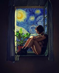 """Girl at the Window"" painting by Salvador Dali And Van Gogh Starry Night Art Inspo, Portraits Illustrés, Pop Art, Art Du Collage, Van Gogh Art, Ouvrages D'art, Art Et Illustration, Landscape Illustration, Art Hoe"