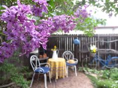 French Country Style from the Foot of the Rockies: Escape to a French Garden Outdoor Spaces, Outdoor Living, Outdoor Decor, Blue Pallets, Lilac Bushes, Brick Path, Patio Cushions, French Country Style, Spray Painting