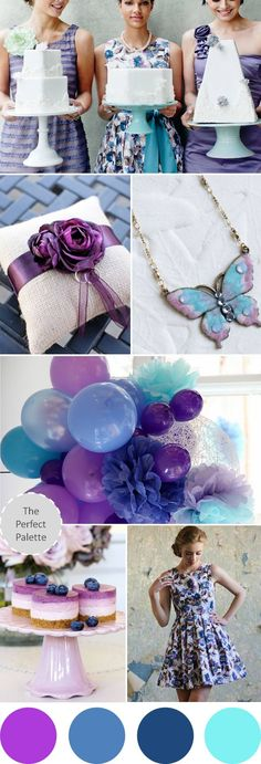 wedding colors: shades of blue and purple! http://www.theperfectpalette.com/2012/11/wedding-colors-i-love-something-blue.html