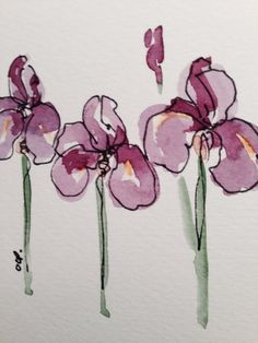 Iris in Bloom Watercolor Card от gardenblooms на Etsy, $3.50