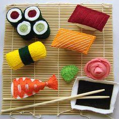 Sushi Dinner Wool Felt Play Food by northwoodstoys on Etsy