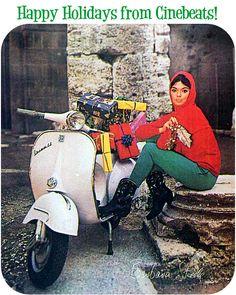 Barbara Steele and her Vespa.