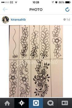Step by step More Mehndi Designs 2018, Bridal Henna Designs, Henna Tattoo Designs, Henna Doodle, Henna Ink, Hand Henna, Mehndi Patterns, Doodle Patterns, Zentangle Patterns