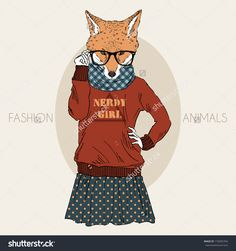 stock-vector-hand-drawn-illustration-of-dressed-up-nerdy-fox-girl-in-colors-178305764.jpg (1500×1600)