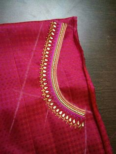 To customize, whatsapp 9043230015 for Saree, Blouse and Kurtis Hand Work Blouse Design, Simple Blouse Designs, Fancy Blouse Designs, Blouse Neck Designs, Embroidery Neck Designs, Hand Embroidery, Zardosi Embroidery, Embroidery Fashion, Embroidery Patterns