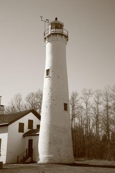 "Lighthouse - Sturgeon Point, Michigan. In Fine Sepia. ""The Fine Art Photography of Frank Romeo."""